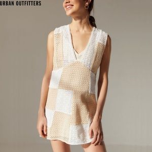 Urban outfitters nude eyelet patchwork dress A2